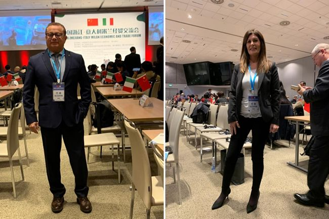 Maurizio Ambrosio e Simona Mannatrizio presenti al Zhejiang Milan Economic and Trade Forum